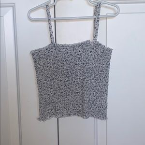 brandy black and white floral smocked tank top